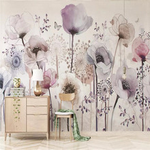 Hand painted flowers beautiful TV background wall professional production murals wholesale wallpaper mural poster photo wall hand painted color oil painting background wall professional production mural factory wholesale wallpaper poster photo wall
