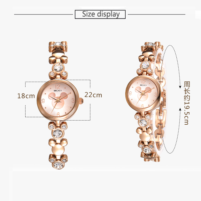 Disney Watch Women Silver Luxury Brand Fashion Rose Gold Quartz Watches  Mickey Mouse Rhinestones Stainless Steel Wristwatch -in Women s Watches  from Watches ... 2f7ae69f3d3a