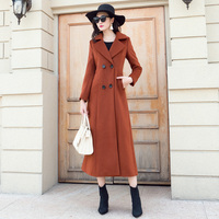 High Quality Women Coat Double Breasted Lapel Wool Coat Caramel Color Caramel Coat Female Slim Thin