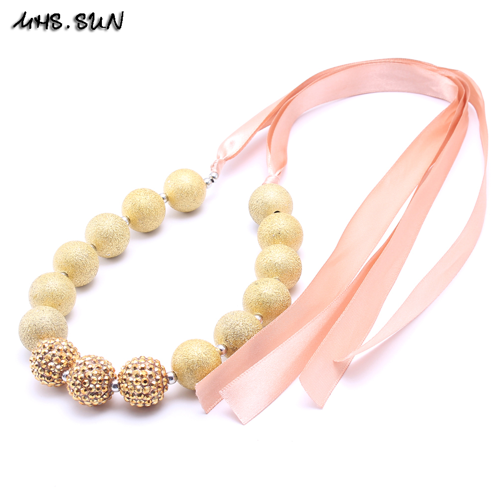 2017 Fashion chunky beaded necklace child bubble gum necklace for little girls kids DIY jewelry decoration 2pcslot