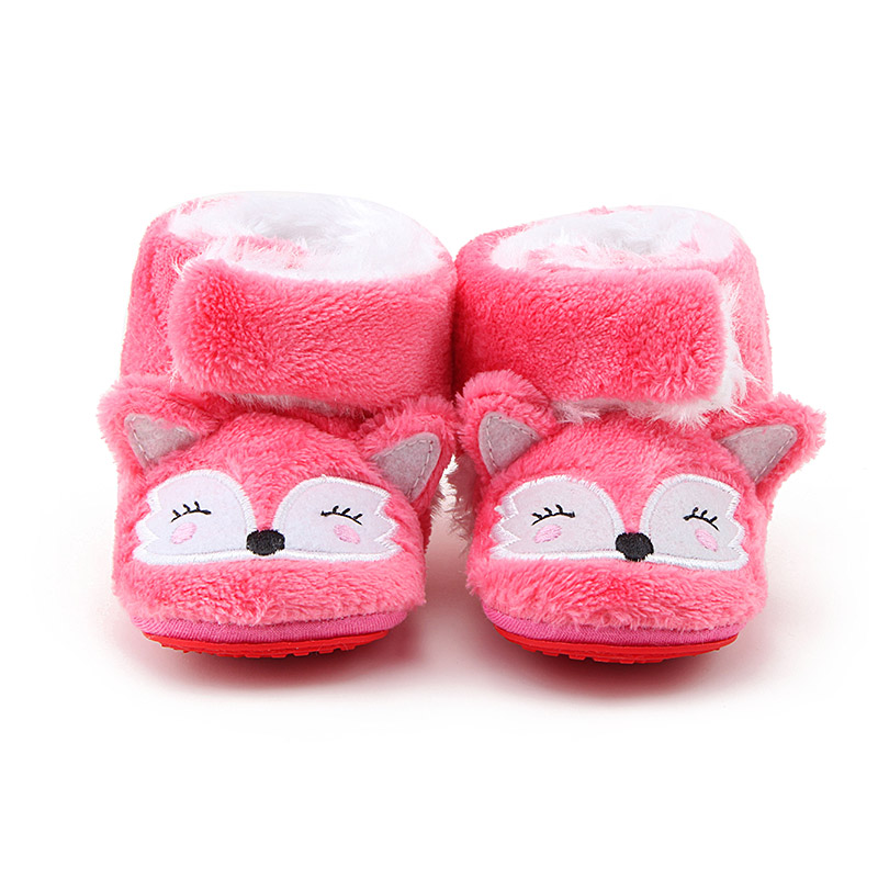 Delebao New Design Lovely Pink Fox Pattern Boots Unisex First Walkers Baby Slip-on Rubber Sole Shoes