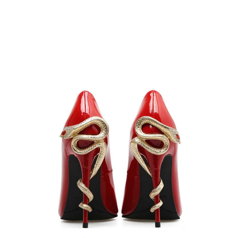 Sexy Màu Xanh Lá Cây Đá Quý Màu Đỏ Mắt Rắn Straped Cao Gót Bơm Chân Nhọn Phụ Nữ Bên Váy Giày Giày Cao Gót