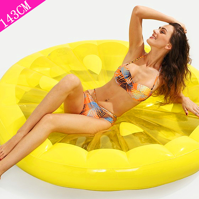 143 cm géant citron tranche gonflable piscine flotteur 2019 Lie-on natation anneau plage été partie eau jouet Air matelas salon boia