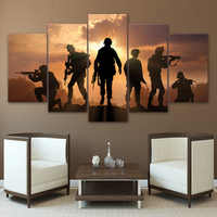 Modern Canvas Pictures HD Printed Wall Art Frame 5 Pieces Army Soldier Sunset Landscape Living Room Home Decor Paintings Posters