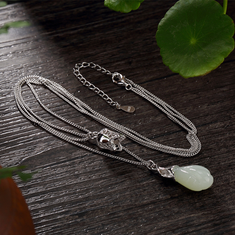 Elegant Real 925 Sterling Silver Multi Layers Chain Necklace With Orchid Flowers Jade Pendants For Women
