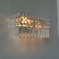 Home rectangular crystal wall sconce Modern Bar cafe light indoor wall lamps abajur hallway living room large Led wall lights