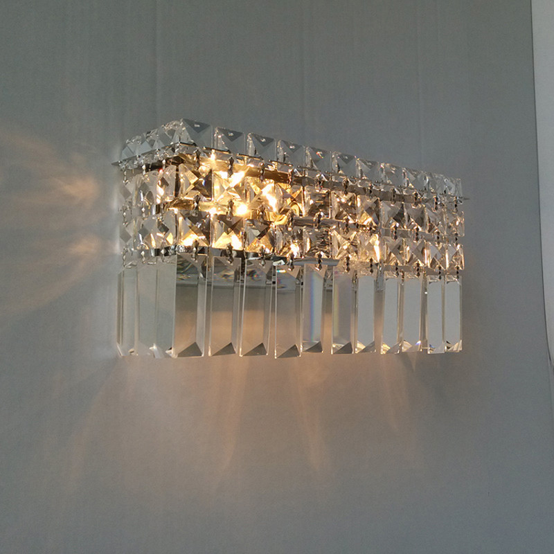 Home rectangular crystal wall sconce Modern Bar cafe light indoor wall lamps abajur hallway living room large Led  wall lights dimmable pendant lights led crystal lighting hanging lamps indoor home light with remote control for hallway indoor home deco