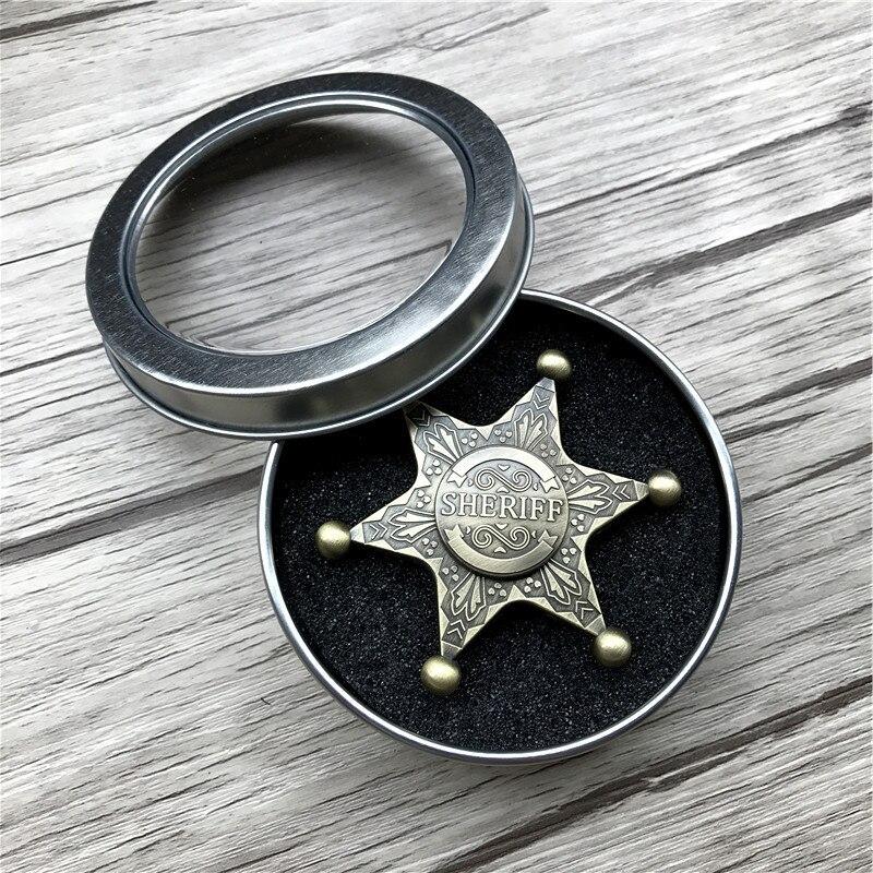 Kinetic RinRetro Sheriff Spinner Hand Fidget Metal Toy Handspinner Metal Aluminium Alloy Finger Spinner
