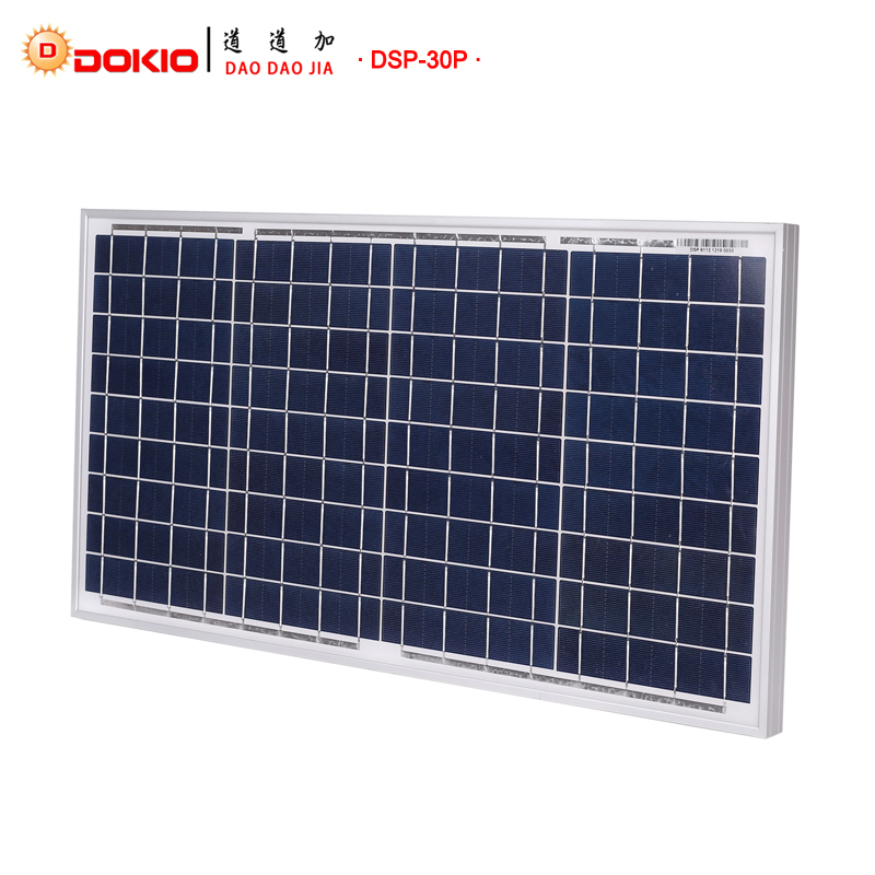 DOKIO Brand Solar Panel China 30W Polycrystalline Silicon Solar Panels 18V 350 660 25mm Size Top