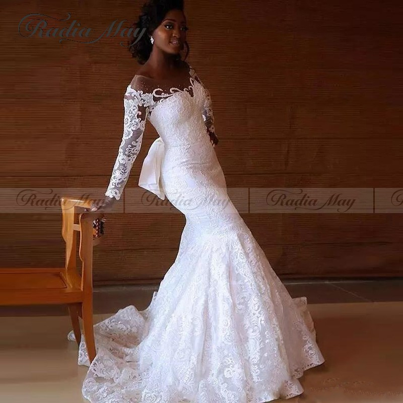 New Arrival 2019 White Lace Mermaid African Wedding Gowns Long Sleeves Illusion Beaded Plus Size Nigeria Wedding Dress With Bow September 2020,Hot Weather Simple Wedding Dresses 2020