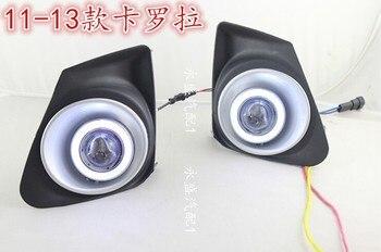 eOsuns COB angel eye led daytime running light DRL + Fog Light + Projector Lens for toyota corolla 2010-13