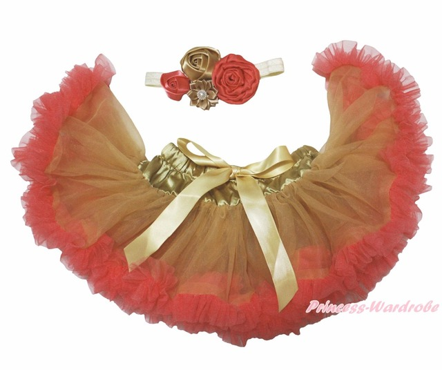 Oro Naranja Niñas Bebé Falda de la Danza de Pettiskirt Tutu Diadema Clip de 2 UNID 3-12 M