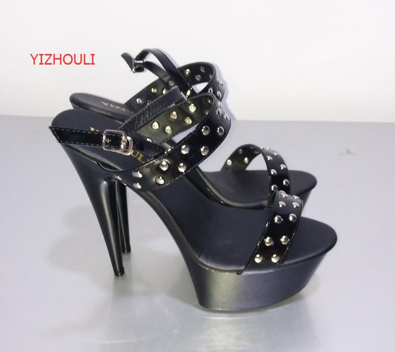 Dazzle beautiful fashion sexy double-row rivets ultra-high black sandals during stage with 15 cm temptation видеоигра бука saints row iv re elected