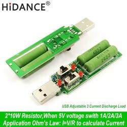 USB резистор dc электронная нагрузка с переключателем регулируемый 3 ток 5V1A/2A/3A батарея ёмкость напряжение разряда сопротивление тестер