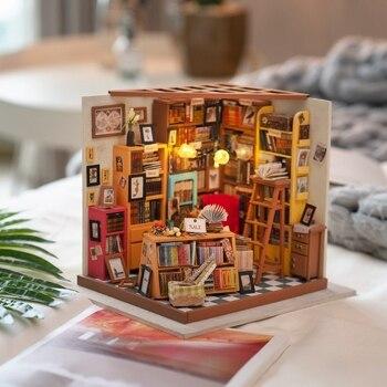 Robotime ahşap Dollhouse kitleri DIY Dollhouse minyatür bebek evi mobilya kızın hediye için en iyi koleksiyonu Dropshipping