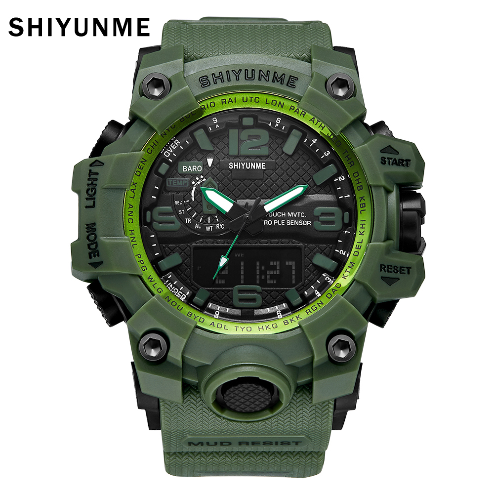 SHIYUNME Mens Sport Watches for Men Military 50m Waterproof Wristwatches Big Dial LED Quartz Digital Watch S Shock Man Watches