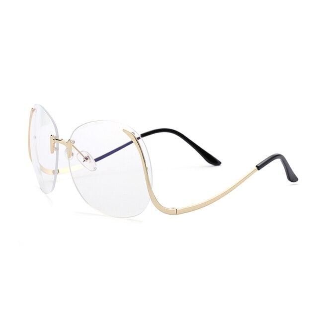Unique vente chaude lunettes transparentes femmes optique lunettes cadre surdimensionné lentille claire grande taille sans monture myopie lunettes de soleil femme