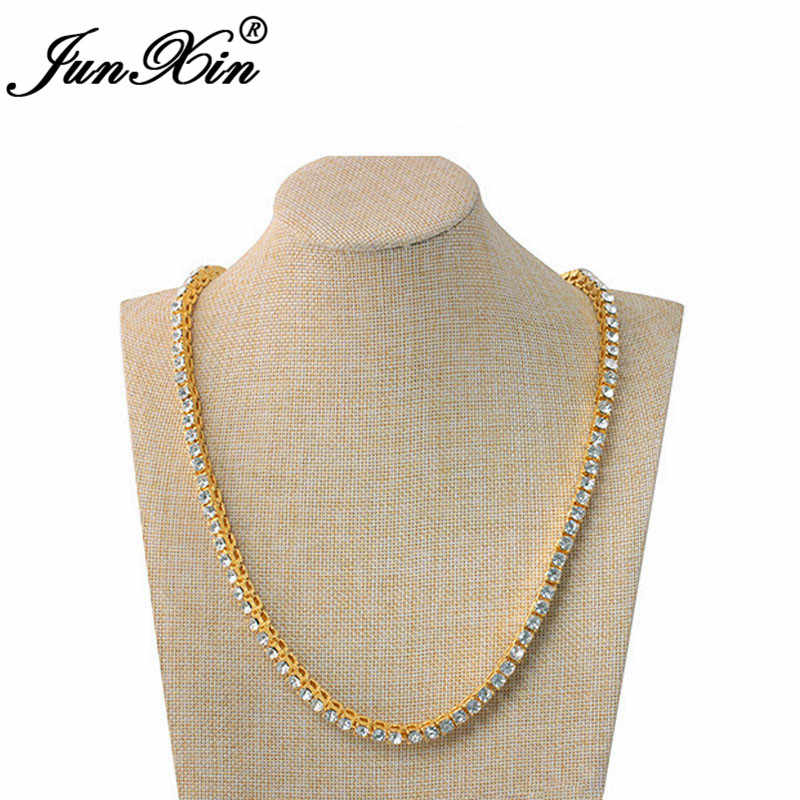 JUNXIN Hip Hop Male Round Crystal Chains Necklaces For Men Silver Yellow Gold Color Long Statement Necklace Women Female Jewelry