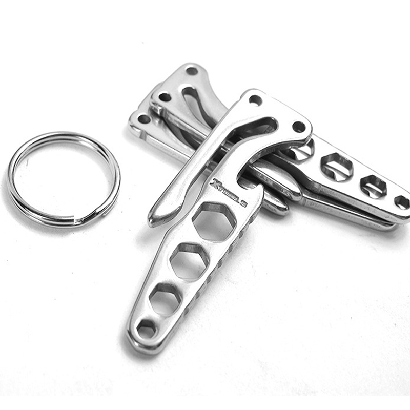 Stainless Steel Pocket Key Holder Clip Bottle Opener Hex Wrench Outdoor Sports Camping EDC Tools Defense Stinger Supplies