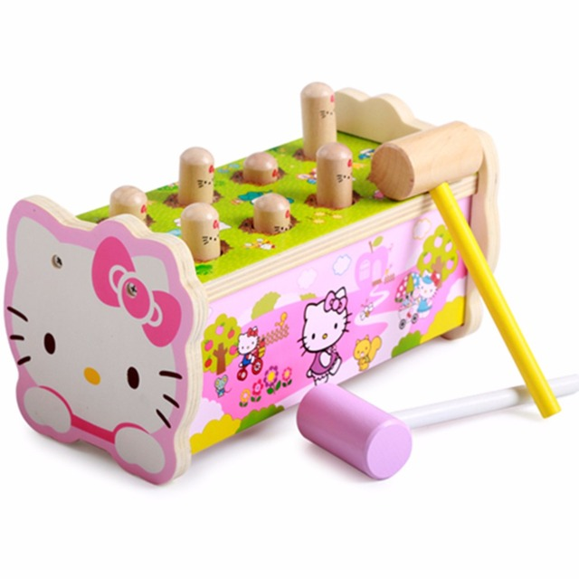Wooden Puzzle Early Education Enlightenment 1-3 - year - old infants and young children baby percussion hamster toys Hello Kitty