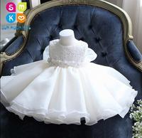 Glizt Baby Girl Dress White Chiffon Ball Gown Bead Bow Belt Baptism Dress For Girl Infant 1 Year Birthday Christening Gowns
