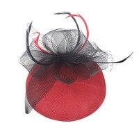 1PC Fashion Chic Brides Ladies Imitation Feather Mesh Mini Hat Hair Clip Hair Pin Bridal Party Headpiece