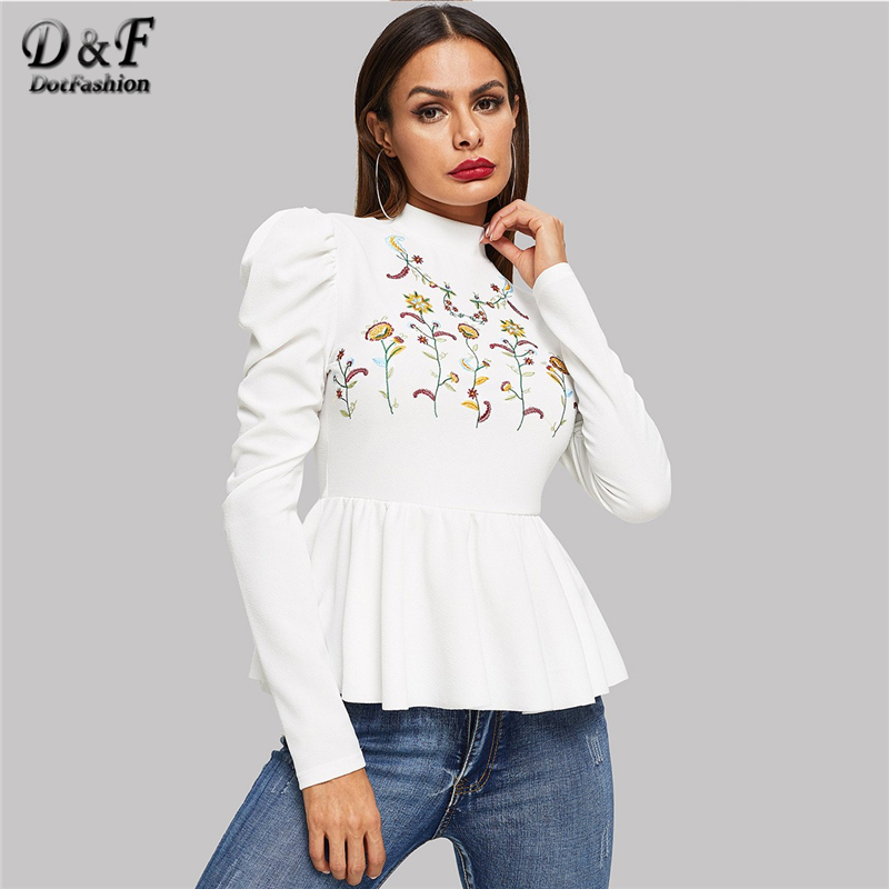 Dotfashion White Flower Embroidered Ruffle Womens Tops And Blouses 2019 Autumn Clothes Casual Pullover Long Sleeve Fashion Shirt