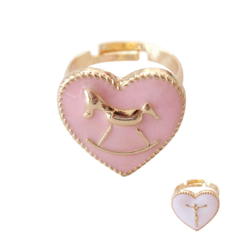 Japanese Gold Color Pink White Heart Wooden Horse Jesus Cross Adjustable Finger Rings For Women Girls Party Gifts
