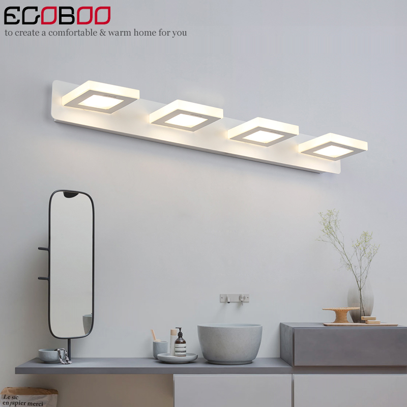 ФОТО EGOBOO Indoor 12W Led Wall Lamps For Bathroom Wall Lighting Mirror Lights 65cm AC220V/110V Home Deco Acrylic Mirror Lamps
