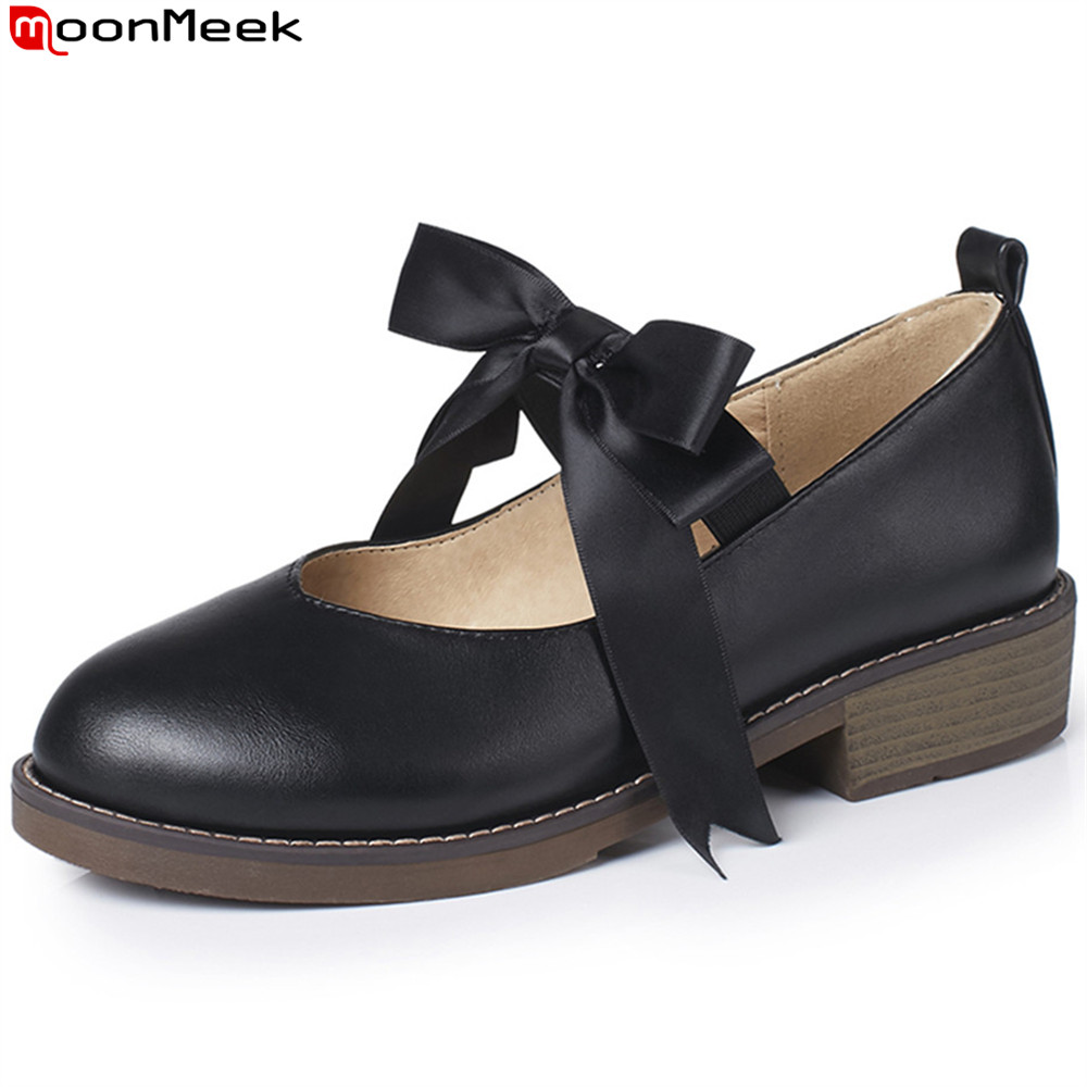 MoonMeek black beige size 43 fashion spring autumn new single shoes round toe cross tied casual women low heels shoes moonmeek 2018 fashion spring autumn flat shoes woman pointed toe cross tied casual flock women flats big size 33 43