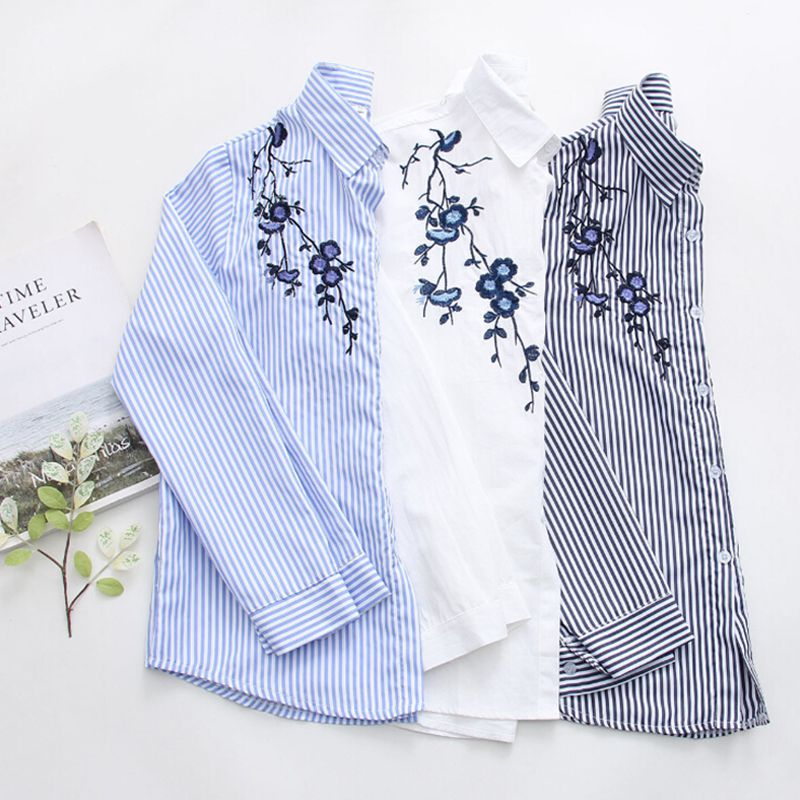 2019 Fashion Striped Turndown Collar Long Sleeve   Blouse   Floral Embroidered   Blouse   Tops Women Cotton Autumn   Shirts   Blusas Female