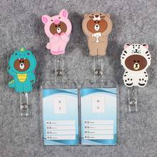 Badge Scroll Nurse Reel Cute Vertical PVC Character Scalable Colors Little Bear Exhibition ID Plastic Students Card Holder