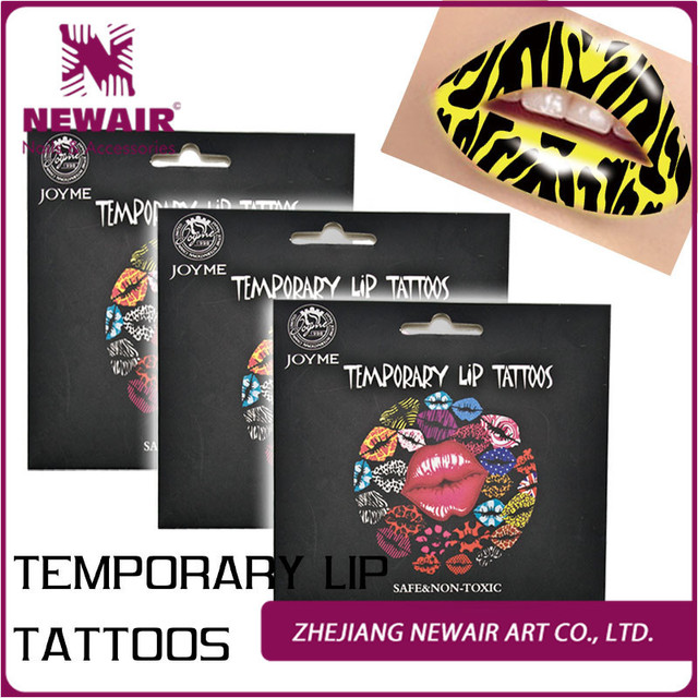 Us 459 Gorący żółty Zebra Paski Wzory Spersonalizowane Tatuaże Tymczasowe Lip Tattoo Naklejka Art Transferu Wody Błyskawiczne Sztuki W Gorący żółty