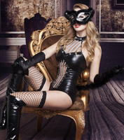 Catwoman Sexy Lingerie Clubwear Bodysuits Sexy Cosplay Costumes Leather Costume Hot Black Cat Uniform Underwear Role Play Game