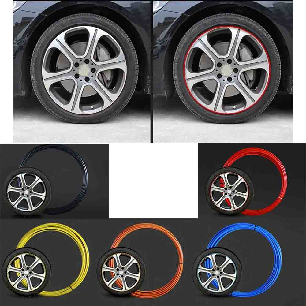 Universal 8M Strip Car Wheel Hub Tire Sticker Rim Covers Flexible Mouldings Decoration Scratchproof For VW Hyundai Ford Honda ...