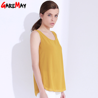 Women Top Tees Chiffon Blouses Solid Color Blouse Summer Tops Sleeveless Double Layer T Shirt Femme