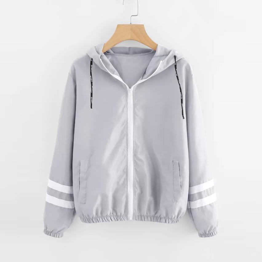 Jackets & Coats Amiable Feitong Autumn Women Contrast Ribbons Trim Zip Up Hooded Jacket Striped Patched Sleeve Girl Coat Outwear Windbreaker Jacket