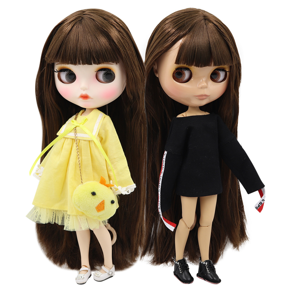 ICY factory blyth doll 1 6 bjd normal joint body straight brown hair BL0521 30cm Girl