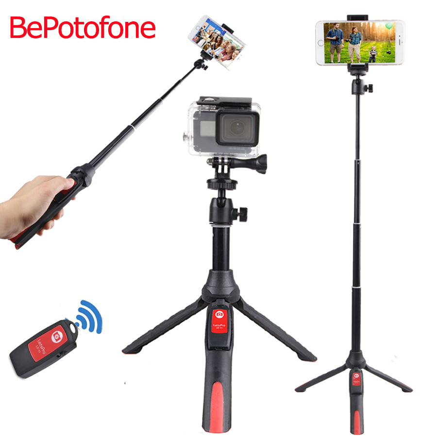 Selfie Stick Tripod live Stand Extendable Monopod Bluetooth Remote Phone Mount for iPhone X 8 7 Android SmartPhone action camera