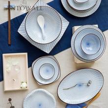 ANTOWALL Japan style ceramic dinnerware, microwave bowl steamed rice, sauce dish, deep sushi plate, soup spoon