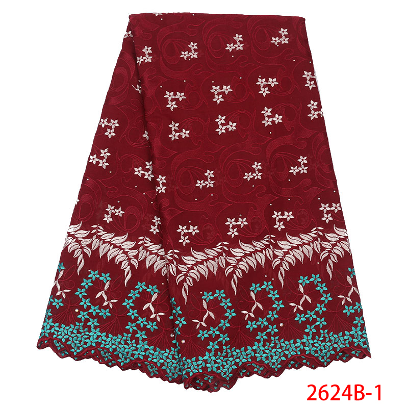 2019 High Quality Nigerian Laces Fabrics Swiss Voile Laces In Switzerland Embroidered Cotton With Stones For Wedding KS2624B-1