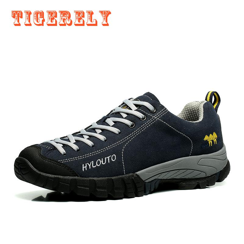 ФОТО 2017 New Arrival Men Rubber Lace-up Sneakers Leather Climbing Outdoor Sport Shoes Breathable Wearable waterproof Hiking Shoes