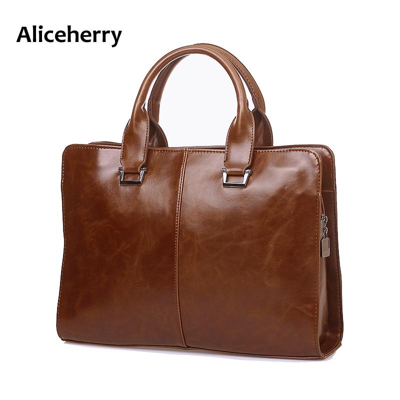 ФОТО Aliceherry Men Messenger Bags Vintage PU Leather Shoulder Bag Designer Mens Buisness Bag Laptop Case Business Handbags