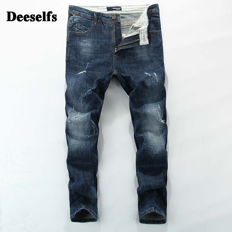 High Grade DE Brand Clothing Distressed Blue Scratch Jeans Men Mid Stripe Men`s Moto Jeans Slim Fit Denim Pants 28-36 S8801 classic mid stripe men s buttons jeans ripped slim fit denim pants male high quality vintage brand clothing moto jeans men rl617