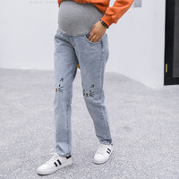 High Quality Autumn Maternity Jeans For Pregnant Women Striaight Pregnancy Pant Adjustable Waist Pregnancy Jeans