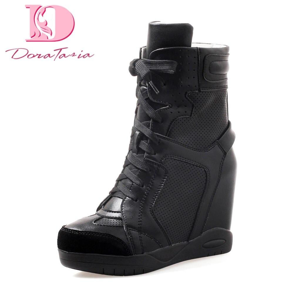DoraTasia Top Qualité Intérieure Haute Talons Femmes Boot Femmes Chaussures Femme Cheville Bottes Lace Up Sneaker Boot Femme Chaussures