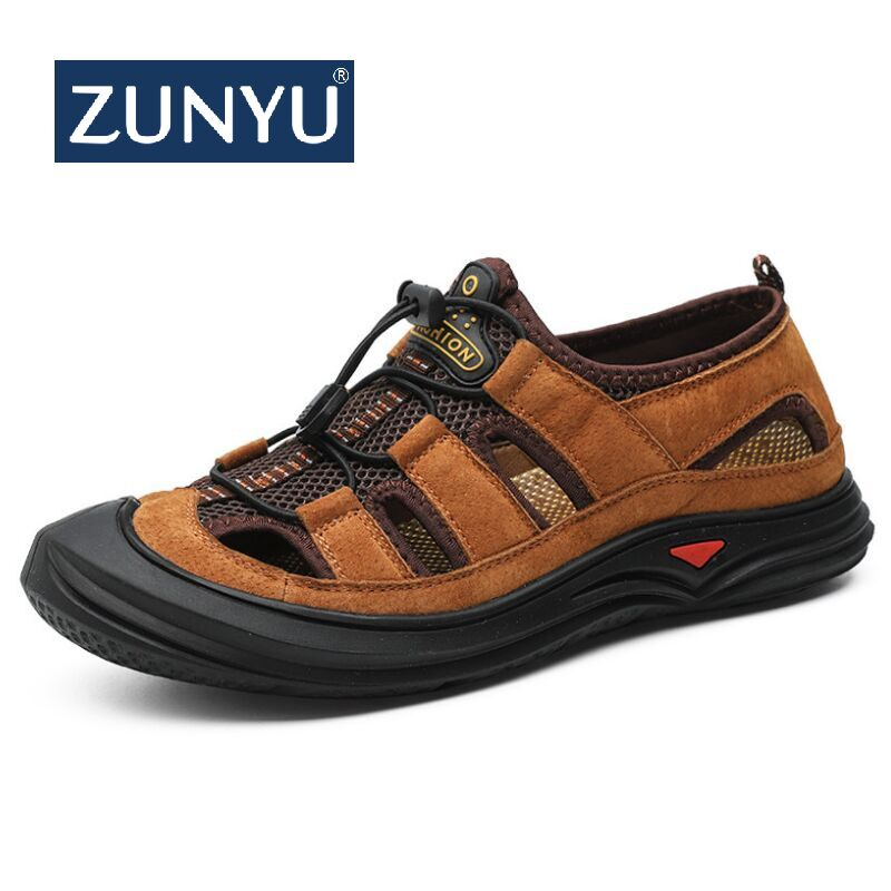 ZUNYU New Men Leather&Mesh Outdoor Sandals 2019 Summer Men Breathable Casual Shoes Footwear Walking Beach Sandals Water Sneakers