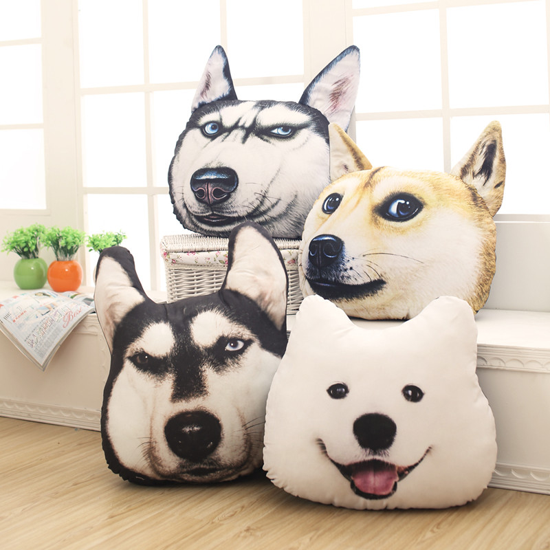 simulation 3D 38cm*35cm Samoyed Husky Dog Plush Toys Dolls Stuffed Animal Pillow Sofa Car Decorative Creative Birthday Gift