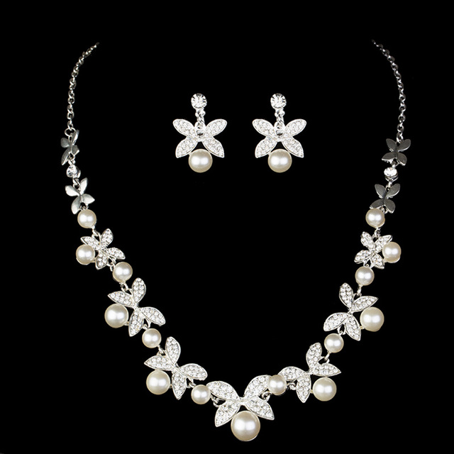 Women Wedding Pearl Necklace Jewelry Set Clips Earrings Erfly Jewellery Sets Engagement Pin