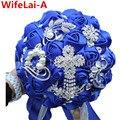 Роскошный Королевский Синий Лента Кисточка Алмаз Свадебные Букеты Прочный Кристалл Брошь Искусственные Цветы Свадебные Букеты W235